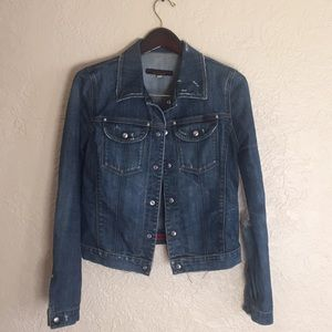 AG Adriano Goldschmied distressed jean jacket M